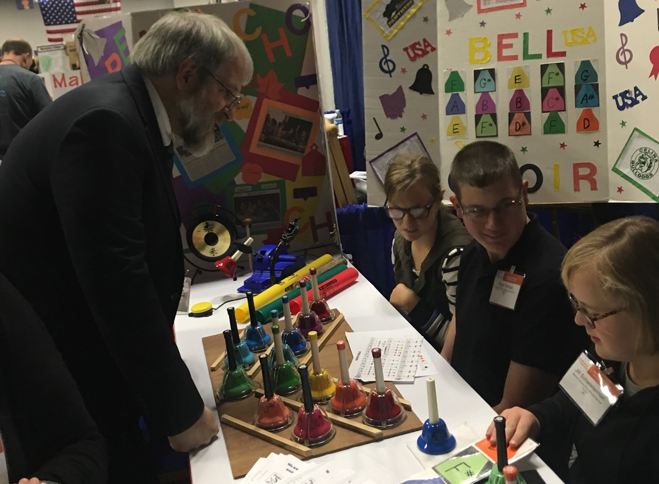 The Peace Chords Bell Choir took part in the 63rd annual Ohio School Boards conference. Six students, along with Mrs Liening, shared information about their performances and demonstrated the adaptive bells.
