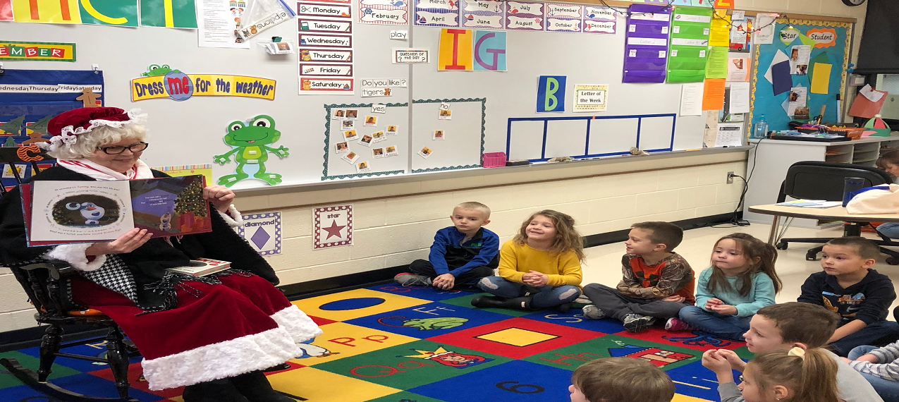 Mrs. Claus made a surprise visit to our Coldwater  centerbased preschool class and read them a story!