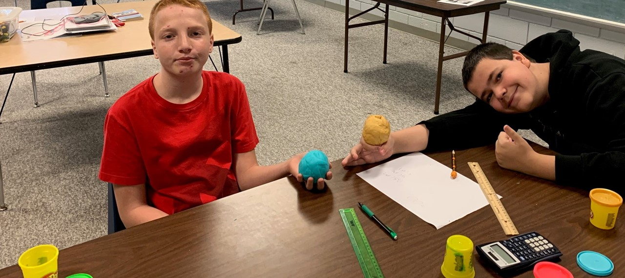 Students at the Community Learning Center made models of the earth's layers out of Play-doh