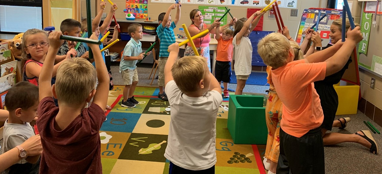 Learning through movement in Mrs. Roger's classroom