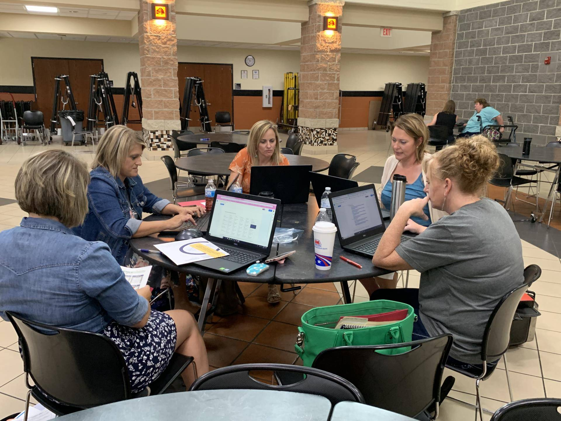 Teachers working together at a table.